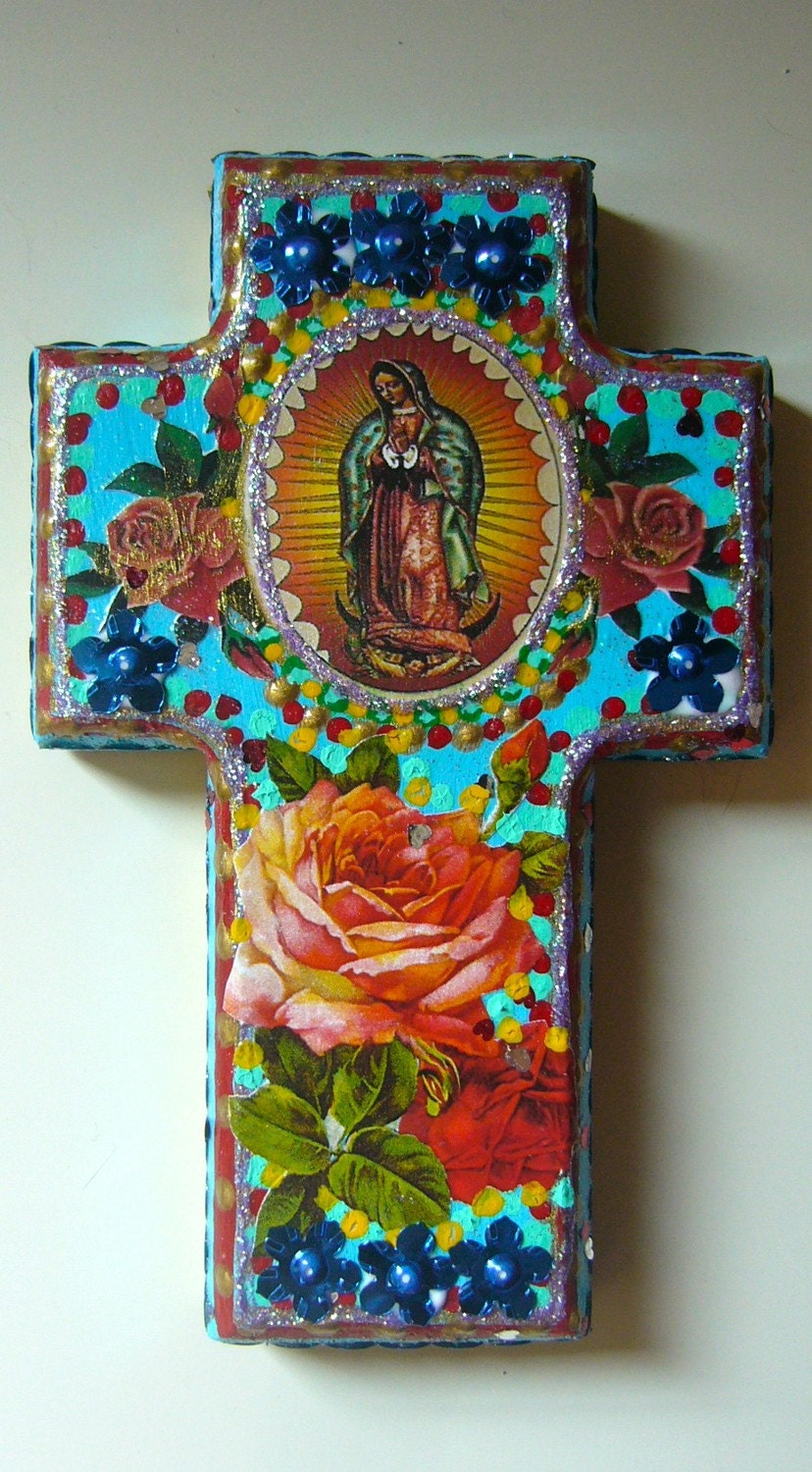 Hold for dena vintage our lady of guadalupe on blue cross for Our lady of guadalupe arts and crafts