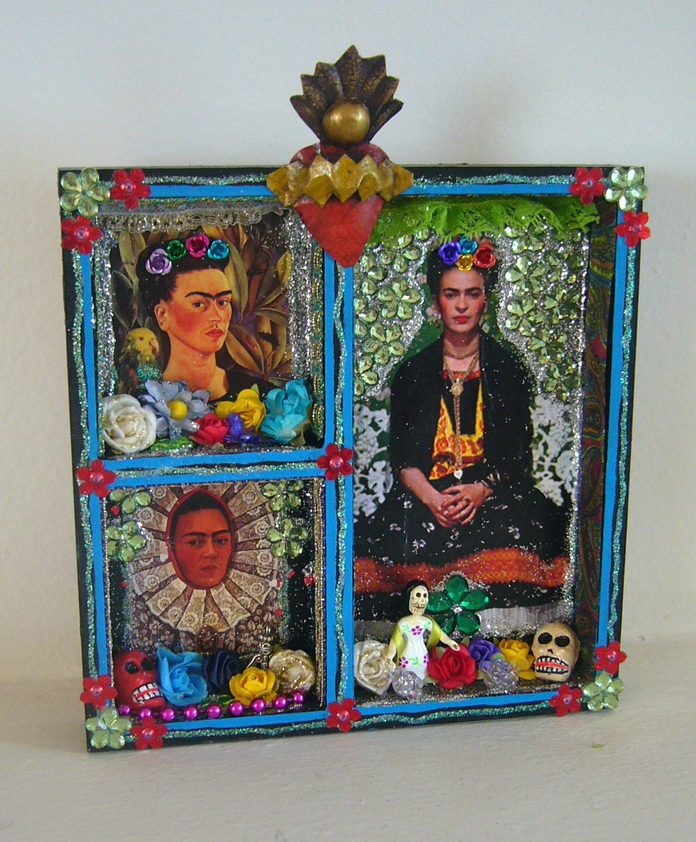 Frida kahlo box shrine or altar piece for the wall for Wedding dress shadow box for sale