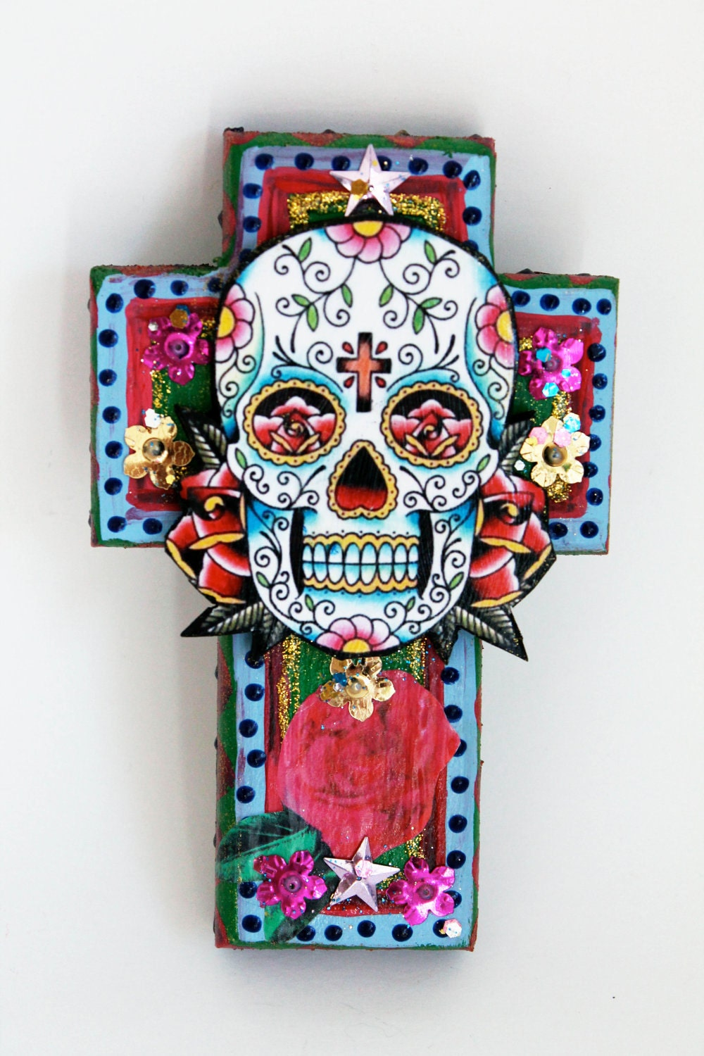 mexican sugar skull on wooden cross roygbiv pink baby blue