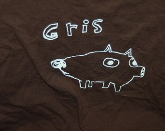 Sale ! Designed by Vera Pig Shirt in Norwegian Norsk Gris Oink Dark Brown Large Great Holiday Gift for Sale