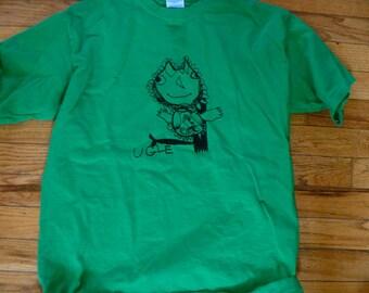 Ugle (Owl) shirt  Norwegian Series Designed by Katya Irish Green Youth size