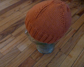 Hand Knit  Hat Wool  Great Christmas Holiday Gift Orange