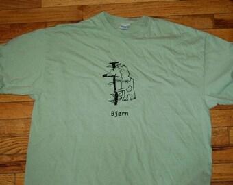 Bjørn Norwegian Bear Adult X-Large shirt in light green Designed by Vera