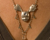 Antler Headed Baby Necklace in Eco-Friendly Fine Silver