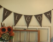 WELCOME Burlap bunting in Chocolate Brown