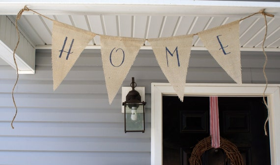 HOME Burlap banner in denim blue READY to SHIP