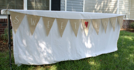 SWEET LOVE Burlap banner White Lettering with Red Heart