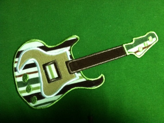 INSTANT DOWNLOAD Guitar applique machine embroidery 4x4 5x7 6x10