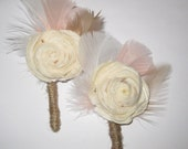 Balsa Wood Flower Boutonniere with feathers-- customizable