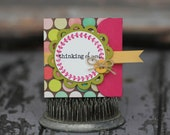 Thinking of You - Lunchbox note - polka dots with brown background