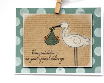 Congratulations on Your Special Delivery in aqua - handmade card