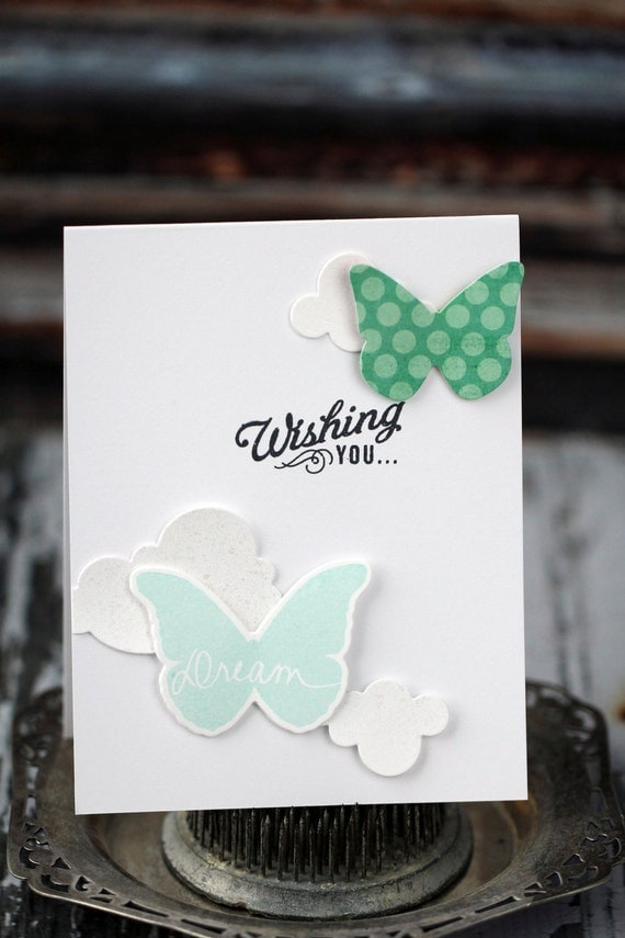 Wishing you...Pop-up Birthday card with butterflies and clouds, aqua