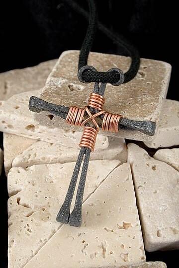 Horseshoe Nail Cross Necklace