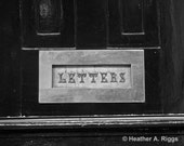 Letters, Mail Slot, Black and White, Photograph, 8x10, Silver