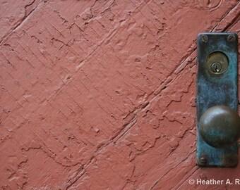 Red Door and Door Knob, photograph
