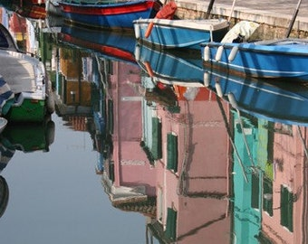 House and Boat Reflection in Burano, Italy, blue, water, pink, teal, green, red, travel, colorful, photograph
