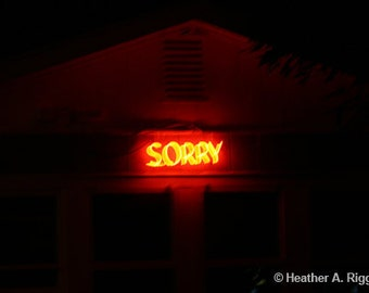 Sorry, Red, Neon, Motel Sign, Photograph, Night, Apology
