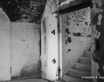 Stairs, Black and White, Haunted, old, architecture, steps, staircase, dark, abandoned, Fort Warren, photograph