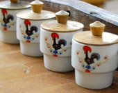 Vintage Polovi Rooster Condiment or Spice Jars with Wooden Lids