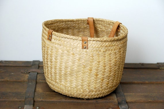 Large Vintage Wicker and Leather Tote, Bag, Storage - Reserved for Camillamlj