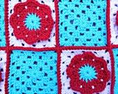 Flower Granny Square Blanket for Baby in Aqua, Red & White- 31X31
