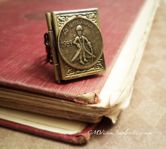 FREE SHIPPING - His Story - Prince Book Locket , Le Petit Prince Series Victorian Filigree Ring