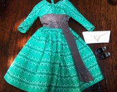 "Vintage Barbie ""Swingin Easy"" Green Dress, Purse and Shoes - Mattel no. 955 - Excellent Condition."