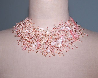 Shell Pink Seed Beaded Necklace - Mermaid's Coral - Pretty Spring Summer Accessory - Adjustable Length.