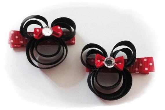 Disney Minnie Mouse hair clip set HANDMADE Your choice of color