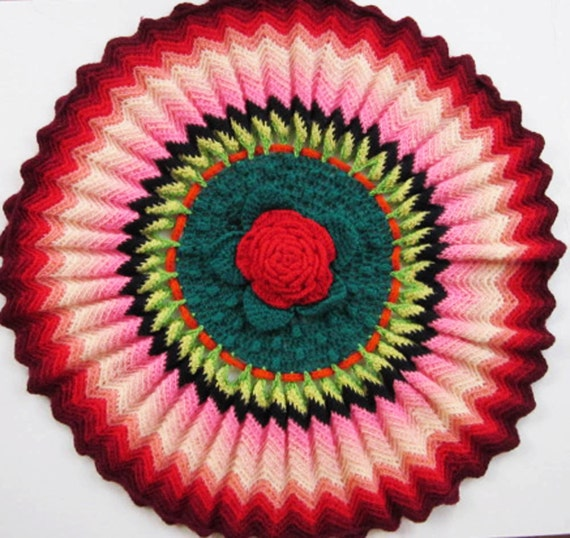 Vibrant Vintage Cushion Cover Crocheted