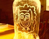 Hand Etched OWL Upcycled Jar - Made To Order