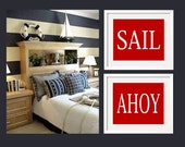 Sail and Ahoy Nautical Wall Art for Kids, Boy bedroom Art in Red and White - Duo Print set of 2
