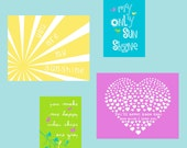 Baby Girl Nursery Art, You Are My Sunshine Wall Art in yellow, turquoise, lime green and purple set of 4 8x10  5x7 YassisPlace FREE SHIPPING