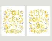 Yellow and Grey You Are My Sunshine Print Set Kids Wall Art 8x10- Flowers and birds matches MIGI Sweet Sunshine Nursery Bedding 058