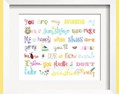 You Are My Sunshine Print 4x6 Rainbow colors for boys and girls room decor  - by Yassisplace wall art