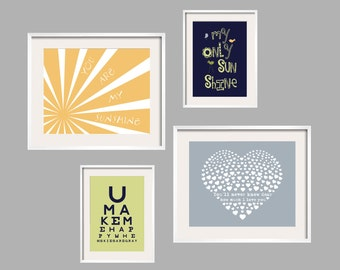 Kids Wall Art You Are My Sunshine Prints Set of 4 in Yellow, Navy, Celery Green, Stormy Bluue  8x10 and 5x7 by YassisPlace FREE SHIPPING