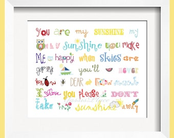 You Are My Sunshine Art Print for Children16x20 Rainbow colors for boys and girls room decor  - by Yassisplace wall art