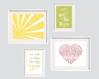 Eclectic Style You Are My Sunshine Prints in yellow, light and apple greens and coral pink.4 pc Set 8x10 and 5x7  FREE SHIPPING