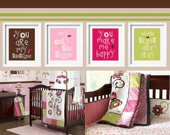 You Are My Sunshine 4 pc Set For Girls Bedroom 5x7 in chocolate, pink, raspberry and lime green For Cocalo's Taffy Bedding by YassisPlace