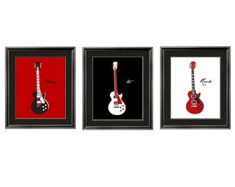 boy Wall Art, nursery decor Guitar Art Children's Wall Art in red, black and white 3 pc set 11x14 by Yassisplace
