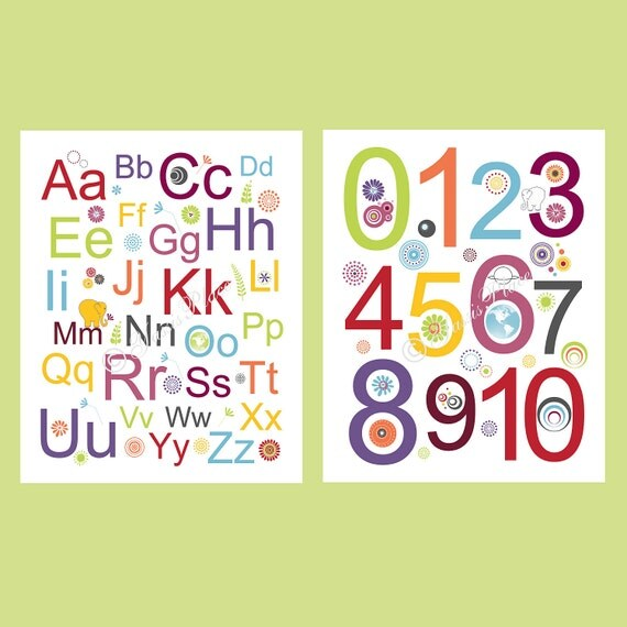 Alphabet and Numbers Prints Modern Kids Art  2 pc in lime green, orange, yellow, plum, gray, red and blue