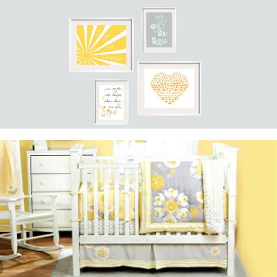 You Are My Sunshine Yellow And Grey Print Set 8x10 By