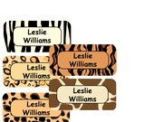 Waterproof Dishwasher Safe Kids Personalized School Labels  - Animal Print Theme