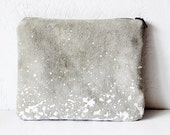 FREE SHIP Splatter Leather-Suede Pouch