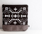 FREE SHIP Navajo Printed Leather-Suede Pouch native aztec