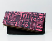 SALE Geometric Pattern Leather Pouch neon pink Dark No. ZP-302