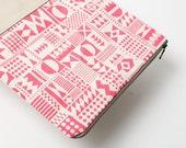 Geometric Pattern Leather Pouch neon pink No. ZP-304