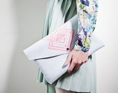 Envelope Bag Geometrical Illusion   Leather Suede Neon Pink No. EB-305