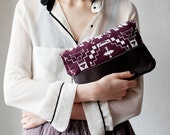 Last One Tribal Pattern Printed  Leather Pouch Plum  No. ZP-101