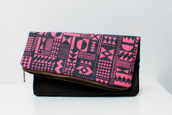 SALE Geometric Pattern Leather Pouch neon pink Dark No. ZP-302